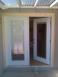 french swing doors with blinds between the dual pained glass, these are nice
