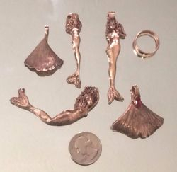 Several Mermaids and Ginko in Rose bronze