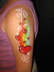 rainbow and hearts arm design