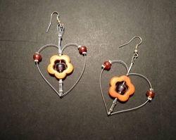 Heart shaped flower earrings