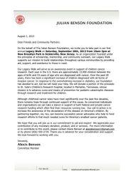 The Legacy Walk Sponsor Letter