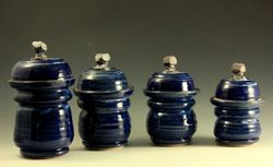Gun Metal Blue Canister Set