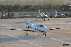 Aeris Aviation customers with Eclipse 500 taxing for parking.
