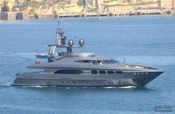 A nice yacht entering Valletta harbor.