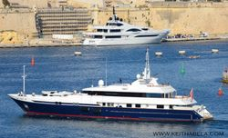 'Double Trouble' yacht leaving Valletta Grand Harbour.