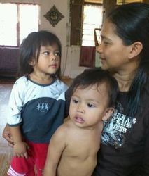Fatin with her mother & younger brother