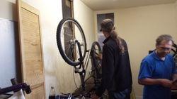 Working on a bike in the workshop