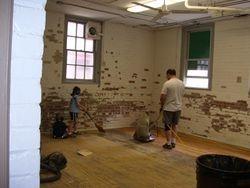 Sanding the floors...