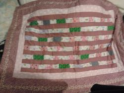 Gorgeous pink striped Lap/Baby quilt