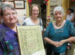 Sandra Jenner (Young Museum), Judy Amos (Hobson descendant), Bev. Spackman (Young Museum and Hobson descendant).