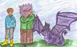 Ben, Golly-Gobble and Pax the Purple Dragon