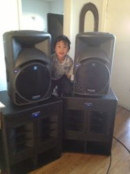 My Son with the Mackie Set Up