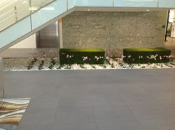 Grass Bench in Atrium with orchids