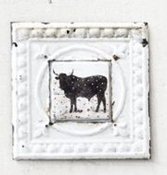 POP Wall Pressed Metal Framed Cow