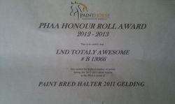 2012/13 Honour Roll ( High point 2011 Paint bred gelding of Australia)