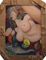 Vruchtvlees met vrouwelijk schoon
