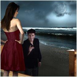 Cordelia and Angel on the Beach