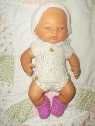 Doll w/ wrap onesie & hat & slippers