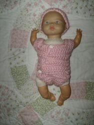 Pink preemie onesie & hat