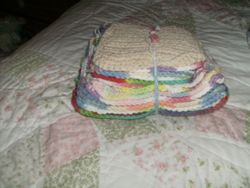 A bunch of pot holders & wash cloths