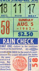 New York Mets 1962 Ticket
