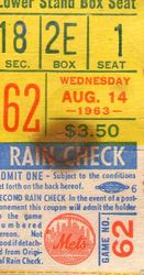 New York Mets 1963 Ticket