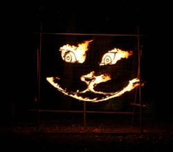 Cheshire Cat fire sculpture