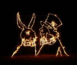 White Rabbit & Mad Hatter fire sculpture