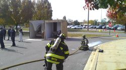 Firefighters getting ready for room burning