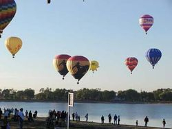 Cowboy Balloons Over Lake 2