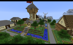 De stad op een vliegend eiland