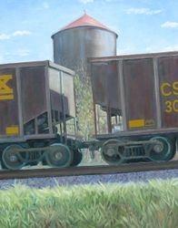 "CSX, oil/panel, 14 x 11"" - sold"