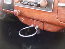 wood grained dash and coffee holder