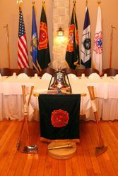 Head Table with Memorial Bell and Axes