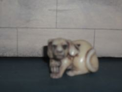 weird dog,carved from bone or ivory.