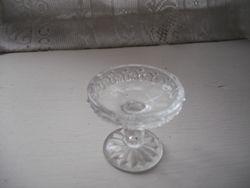 Pressed glass cake dish.
