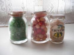 Large food storage jars.