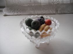 Glass bowl with  vintage style fruit made by me.