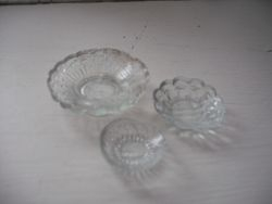Pressed glass dishes.