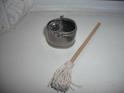 Warwick miniatures bucket and home made mop.