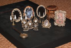 Hand painted items and hand made gilt mirrors.