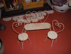 Cute wire chairs,1950s I think.
