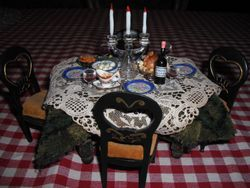 Victorian table set for dinner.