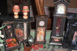 Long case clocks.