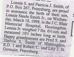 Lonnie Steele Smith, Jr. Birth Announcement