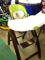 2. (checked out) Bentwood Highchair wth supportive infant insert