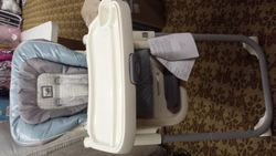 checked out-Light blue easy to clean high chair -currently checked out