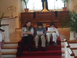 Youth singing at the Good Friday Service at Wilbraham United