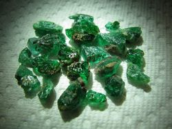 rough African emeralds