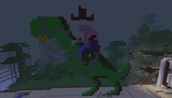 Cowboy riding a dinosaur